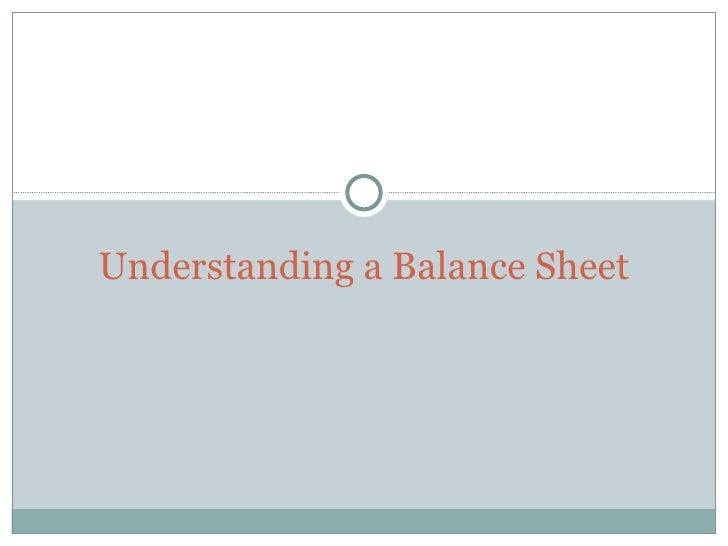 Understanding a Balance Sheet