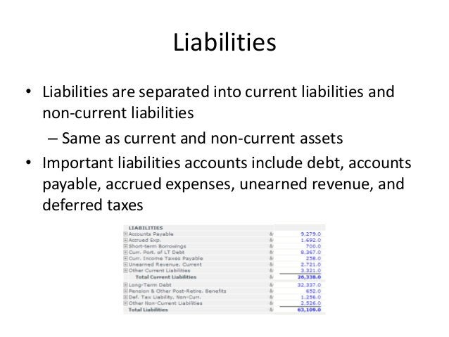 Liabilities  • Liabilities are separated into current liabilities and  non-current liabilities  – Same as current and non-...