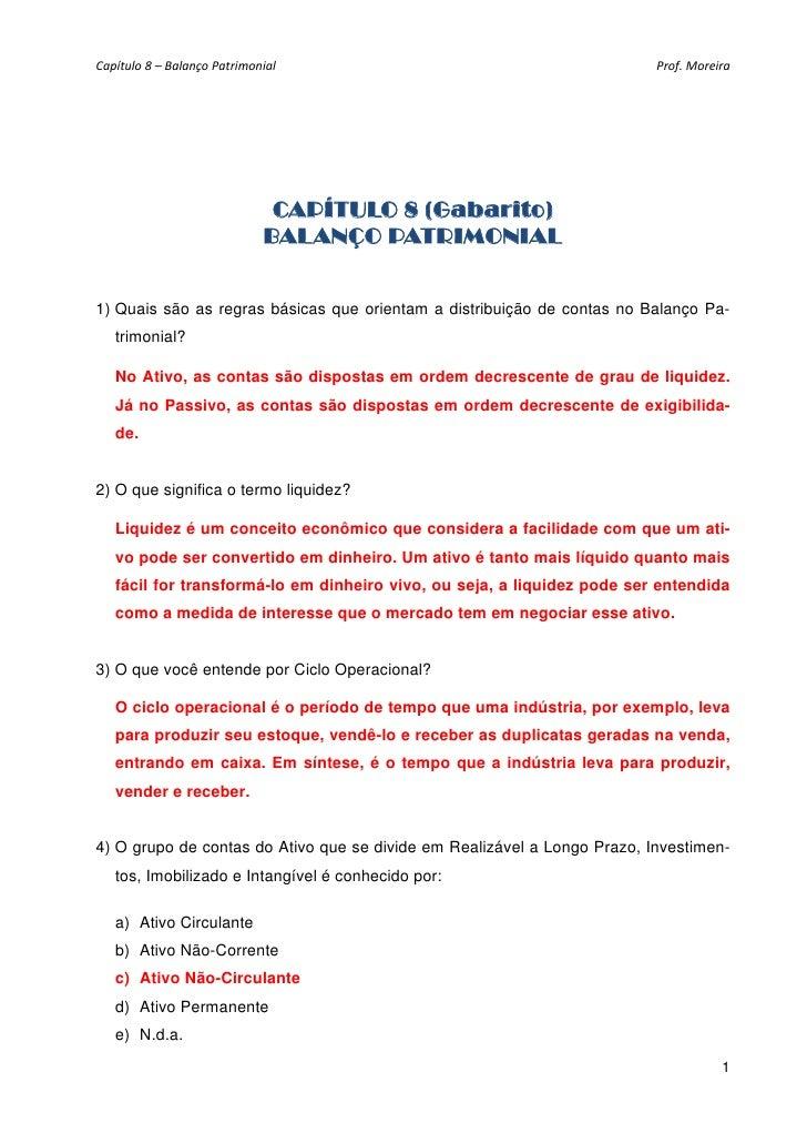Capítulo8–BalançoPatrimonial                                         Prof.Moreira                               CAP...