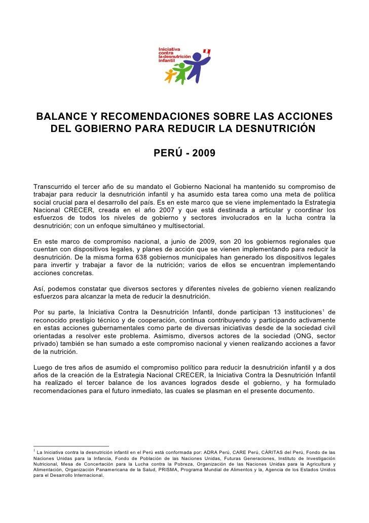 BALANCE Y RECOMENDACIONES SOBRE LAS ACCIONES       DEL GOBIERNO PARA REDUCIR LA DESNUTRICIÓN                              ...