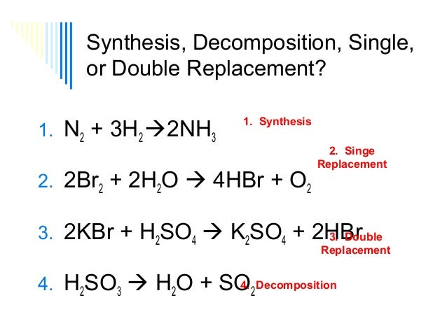Synthesis, Decomposition, Single, or Double Replacement? 1. N2 + 3H2 2NH3  1. Synthesis  2. 2Br2 + 2H2O  4HBr + O2  2. S...