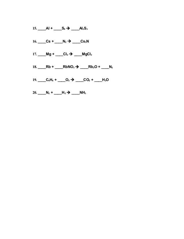 Balancing equations worksheet – Balancing Equations Worksheets