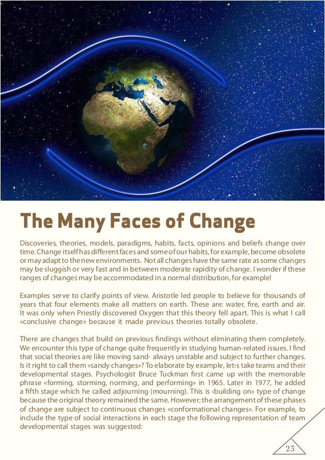 23 The Many Faces of Change Discoveries, theories, models, paradigms, habits, facts, opinions and beliefs change over time...