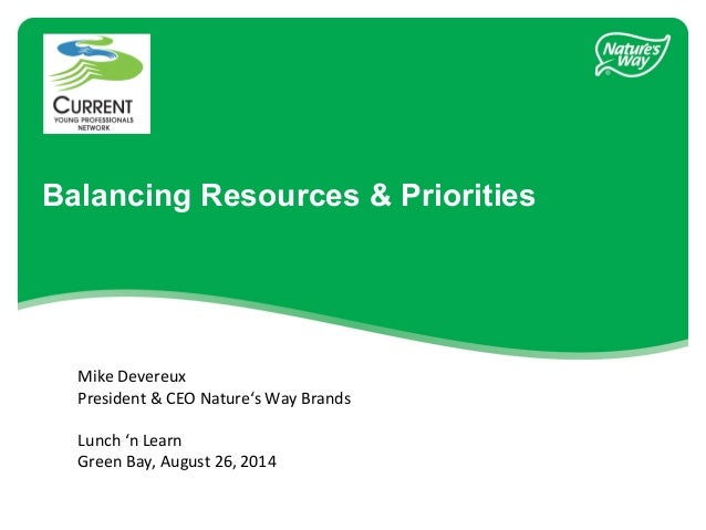 Balancing Resources & Priorities  Mike Devereux  President & CEO Nature's Way Brands  Lunch 'n Learn  Green Bay, August 26...