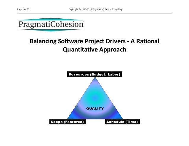 Page 1 of 25                 Copyright © 2010-2013 Pragmatic Cohesion Consulting               Balancing Software Project ...
