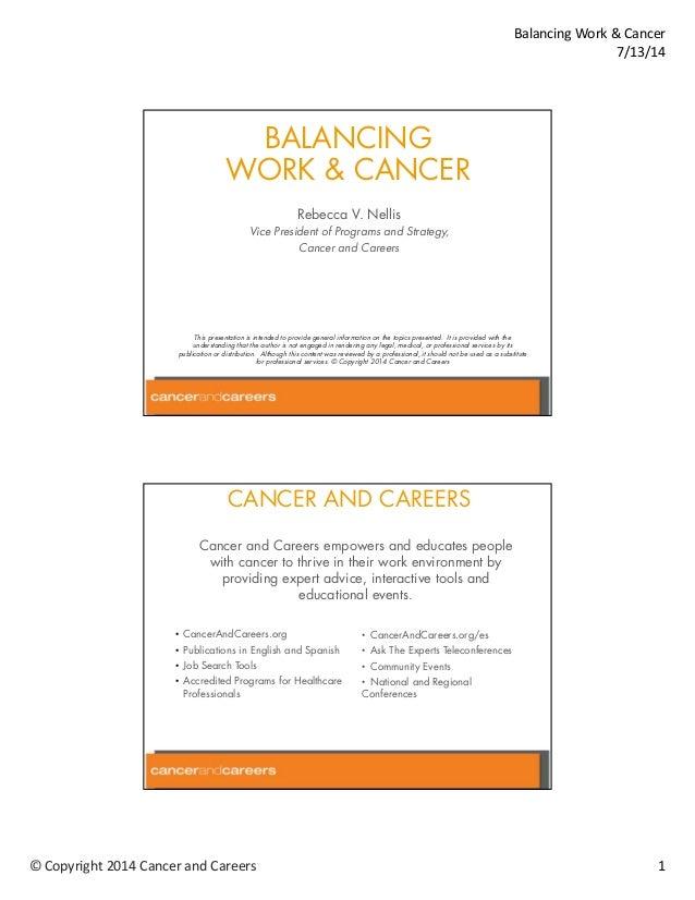 2014 Ovarian Cancer National Conference Balancing Work Cancer
