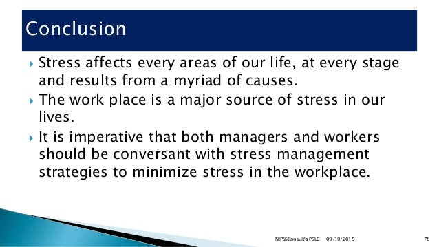 Stress management at the work place