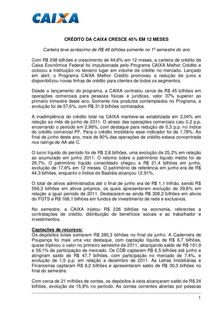 CRÉDITO DA CAIXA CRESCE 45% EM 12 MESES     Carteira teve acréscimo de R$ 48 bilhões somente no 1º semestre do anoCom R$ 2...