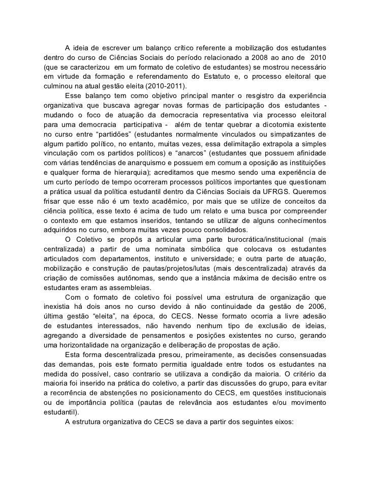 A ideia de escrever um balanço crítico referente a mobilização dos estudantesdentro do curso de Ciências Sociais do períod...