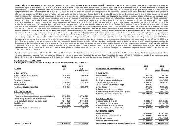 CLUBE NÁUTICO CAPIBARIBE BALANÇOS PATRIMONIAIS LEVANTADOS EM 31 DE DEZEMBRO DE 2014 E DE 2013 2014 2013 2014 2013 ATIVOS R...