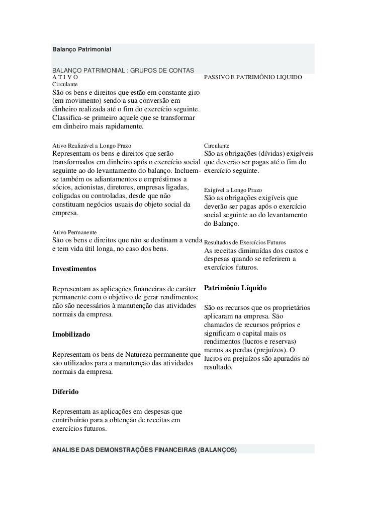 Balanço PatrimonialBALANÇO PATRIMONIAL : GRUPOS DE CONTASATIVO                                                 PASSIVO E P...