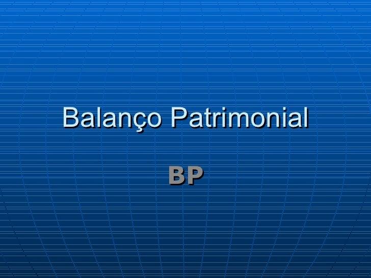 Balanço Patrimonial BP