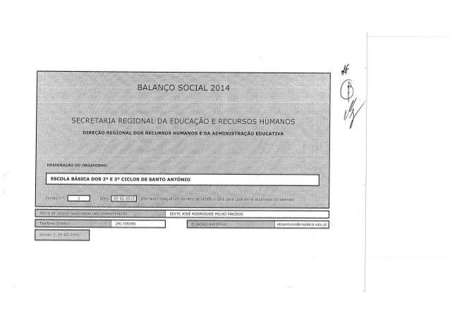 BALANÇO *SOCIAL 2014  SECRETARIA REGIONAL DA EDUCAÇÃO E RECURSOS HUMANOS  DIREÇÃO REGIONAL DOS RECURSOS HUMANOS E'DA ADMIN...