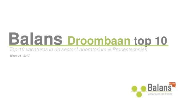 Balans Droombaan top 10 Top 10 vacatures in de sector Laboratorium & Procestechniek Week: 36 - 2017
