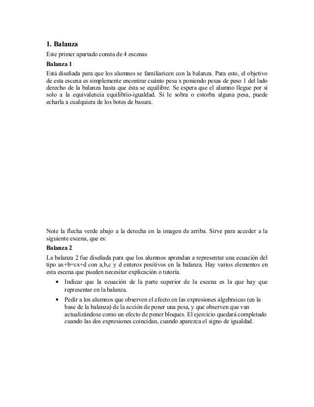1. BalanzaEste primer apartado consta de 4 escenasBalanza 1Está diseñada para que los alumnos se familiaricen con la balan...
