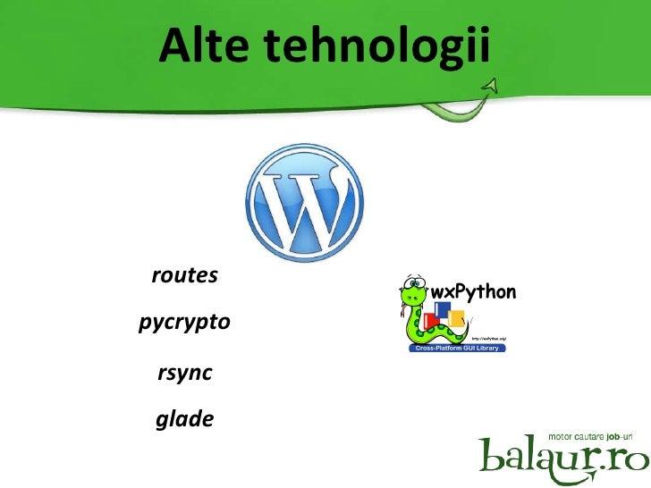Alte tehnologii routes pycrypto rsync glade