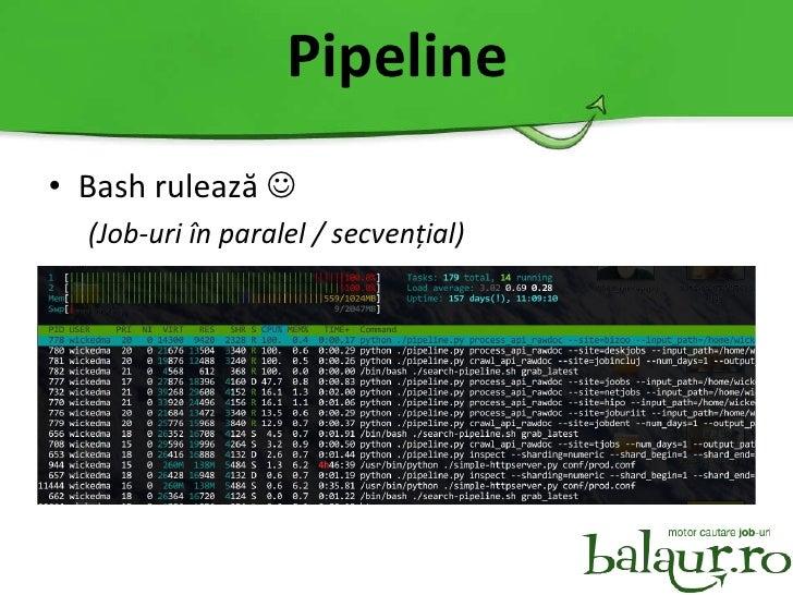 Pipeline <ul><li>Bash rulează   </li></ul><ul><ul><li>(Job-uri în paralel / secvențial) </li></ul></ul>