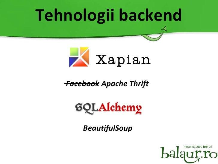 Tehnologii backend BeautifulSoup Facebook Apache Thrift