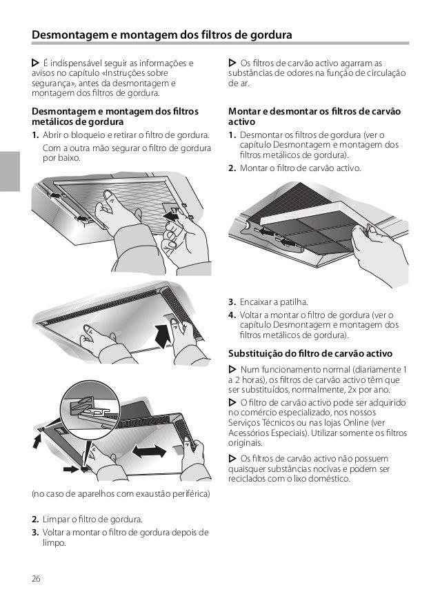 26 Desmontagem e montagem dos filtros de gordura Os filtros de carvão activo agarram as substâncias de odores na função de...