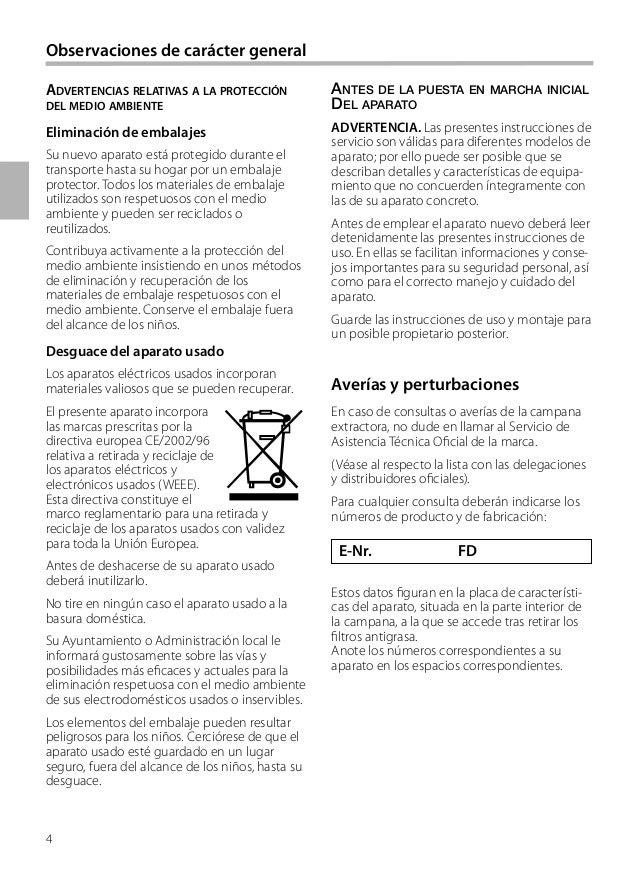 4 E-Nr. FD ANTES DE LA PUESTA EN MARCHA INICIAL DEL APARATO ADVERTENCIA. Las presentes instrucciones de servicio son válid...