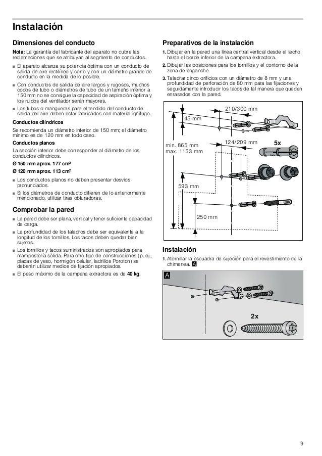 10 2. Atornillar manualmente las suspensiones para la campana extractora con un máx. de 3 Nm. © 3. Atornillar el perno ros...