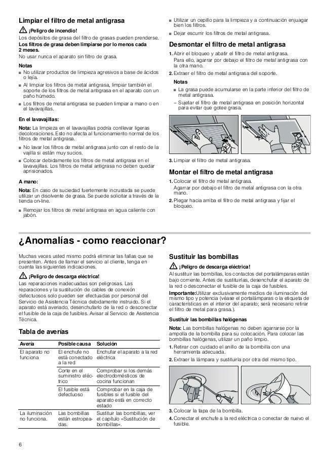 6 Limpiar el filtro de metal antigrasa : ¡Peligro de incendio! Los depósitos de grasa del filtro de grasas pueden prenders...