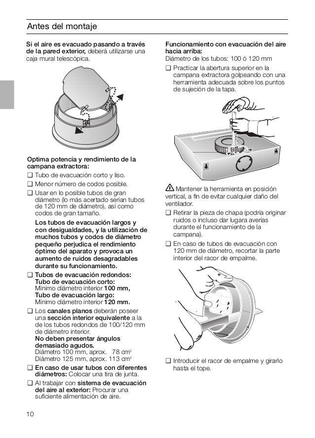 10 Antes del montaje Optima potencia y rendimiento de la campana extractora: ❑ Tubo de evacuación corto y liso. ❑ Menor nú...