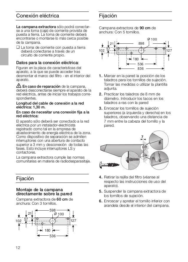 12 Fijación Campana extractora de 90 cm de anchura: Con 5 tornillos. 898 536 21 102 180 127 100 57 836 Fijación Conexión e...