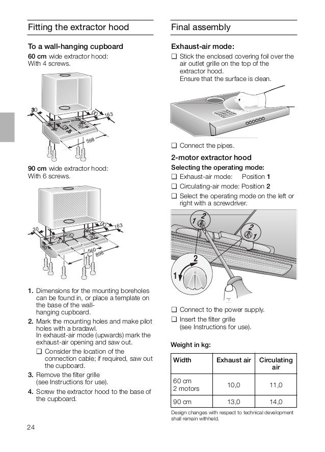 24 Final assemblyFitting the extractor hood 90 cm wide extractor hood: With 6 screws. 163 30 598 1. Dimensions for the mou...