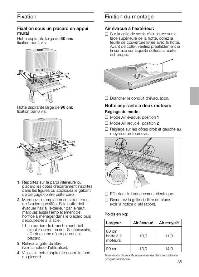 Fixation Hotte aspirante large de 90 cm: fixation par 6 vis. 163 30 598 1. Reportez sur la paroi inférieure du placard les ...