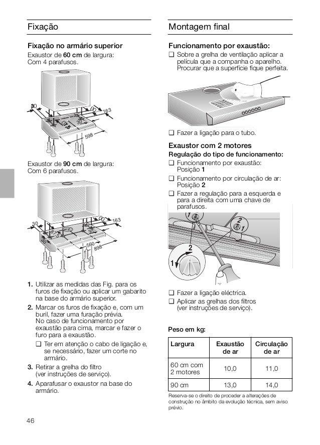 46 Fixação Exaustor de 90 cm de largura: Com 6 parafusos. 163 30 598 1. Utilizar as medidas das Fig. para os furos de fixaç...