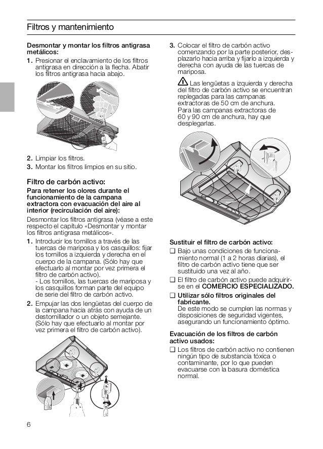 6 Filtros y mantenimiento Sustituir el filtro de carbón activo: ❑ Bajo unas condiciones de funciona- miento normal (1 a 2 h...