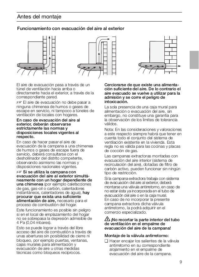 9 El aire de evacuación pasa a través de un túnel de ventilación hacia arriba o directamente hacia el exterior, a través d...