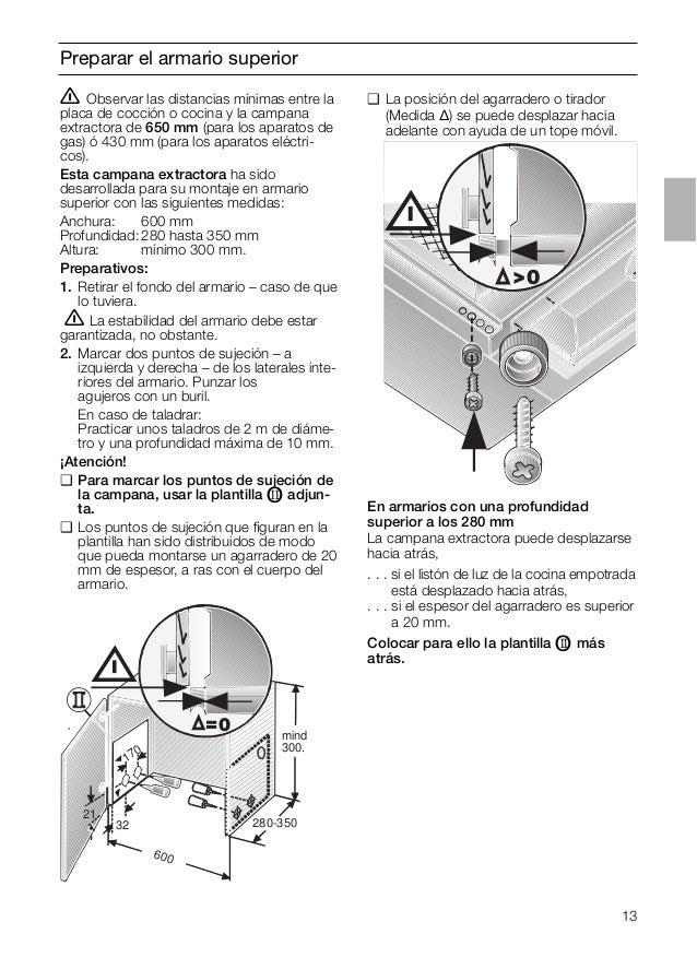 13 Preparar el armario superior ṇ Observar las distancias mínimas entre la placa de cocción o cocina y la campana extracto...