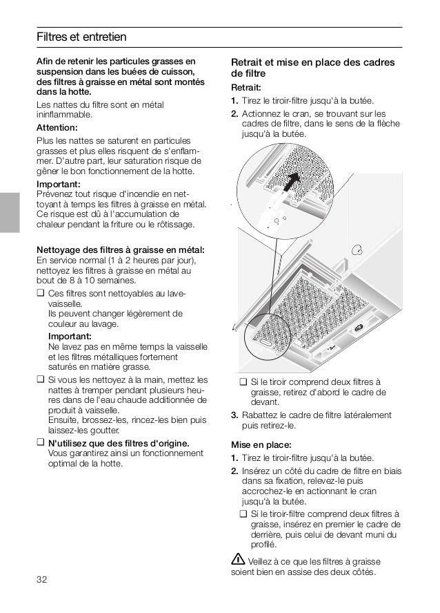 32 Retrait et mise en place des cadres de filtre Retrait: 1. Tirez le tiroir-filtre jusqu'à la butée. 2. Actionnez le cran, ...