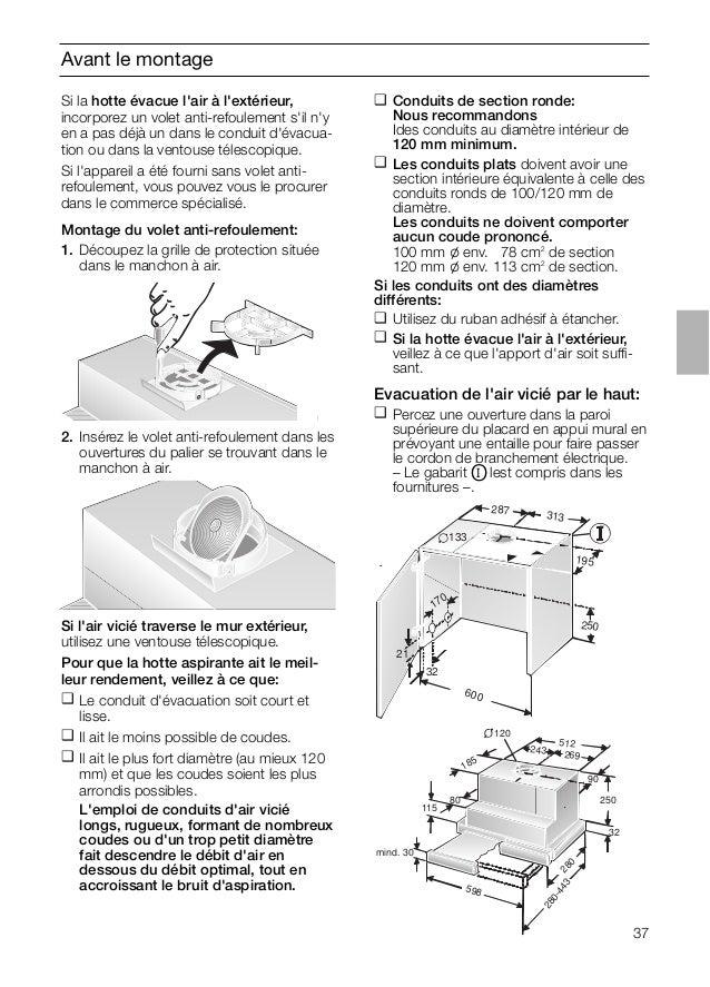 Avant le montage Si l'air vicié traverse le mur extérieur, utilisez une ventouse télescopique. Pour que la hotte aspirante...