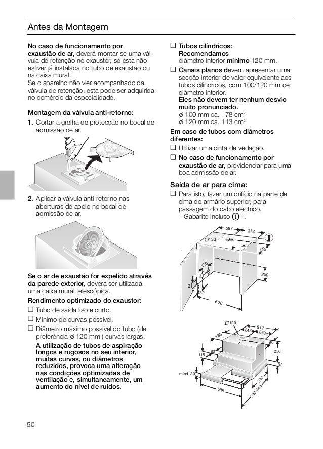 50 Antes da Montagem No caso de funcionamento por exaustão de ar, deverá montar-se uma vál- vula de retenção no exaustor, ...
