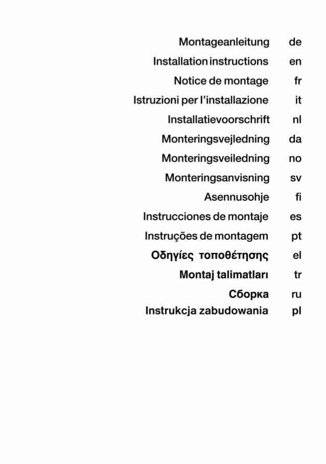 Montageanleitung Installation instructions Notice de montage lstruzioni per | 'instaIIazione Installatievoorschrift Monter...