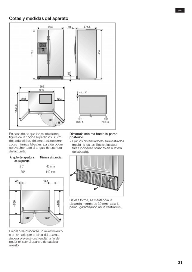 Manual balay frigorifico americano 3 fa7787a - Medidas frigorifico americano ...