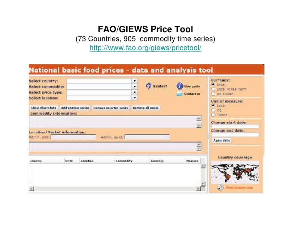 FAO/GIEWS Price Tool ( (73 Countries, 905 commodity time series)              ,               y          )     http://www....