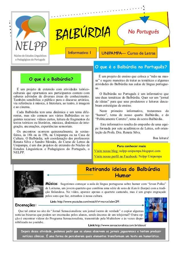 BALBÚRDIA                                               No Português                                         Informativo 1...