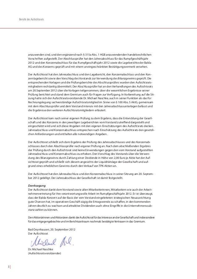 Bericht des Aufsichtsrats              anzuwenden sind, und den ergänzend nach § 315a Abs. 1 HGB anzuwendenden handelsrech...