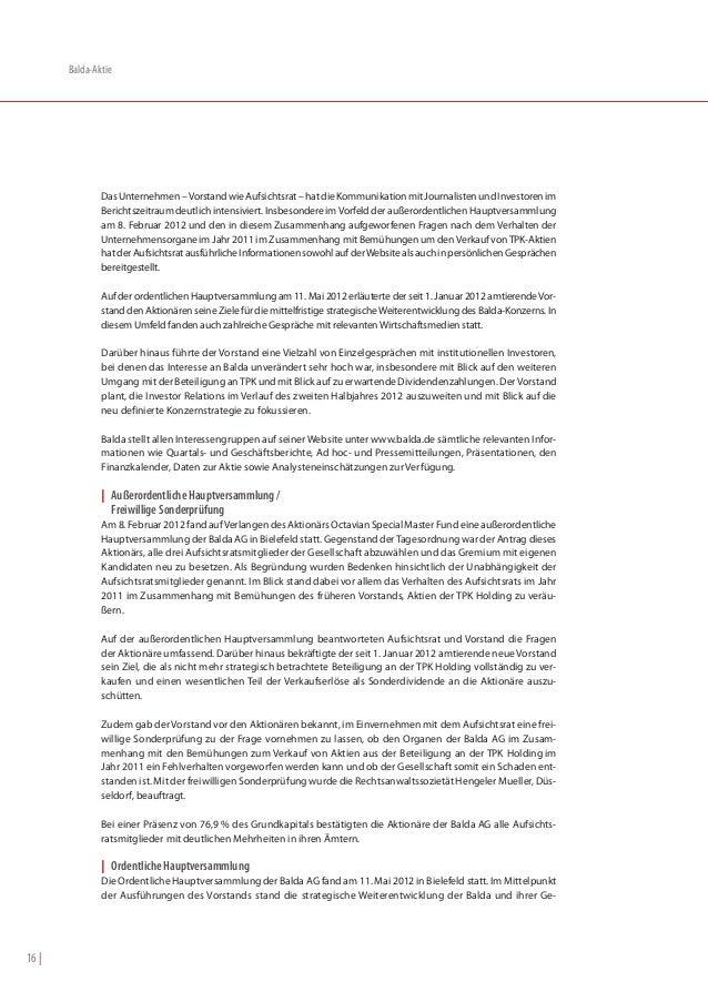 Balda-Aktie               Das Unternehmen – Vorstand wie Aufsichtsrat – hat die Kommunikation mit Journalisten und Investo...