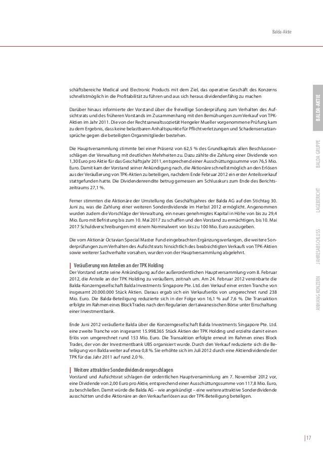 Balda-Aktieschäftsbereiche Medical und Electronic Products mit dem Ziel, das operative Geschäft des Konzernsschnellstmögli...