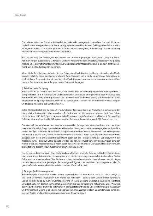 Balda-Gruppe              Die Lebenszyklen der Produkte im Medizintechnikmarkt bewegen sich zwischen drei und 20 Jahren   ...