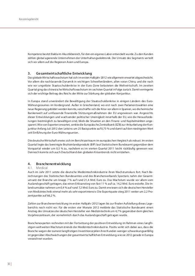 Konzernlagebericht               Kompetenz besitzt Balda im Akustikbereich, für den ein eigenes Labor entwickelt wurde. Zu...