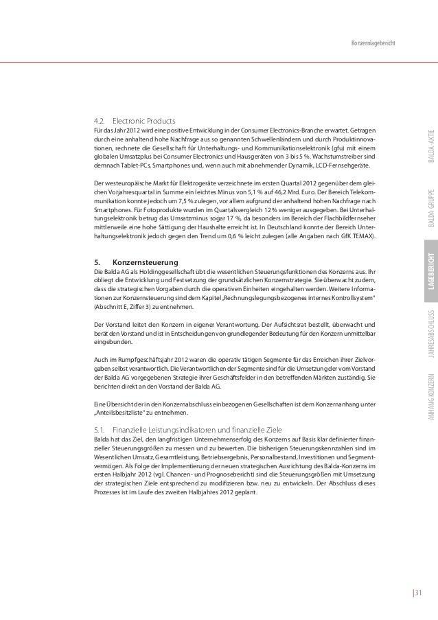 Balda Geschäftsbericht 2012 deutsch