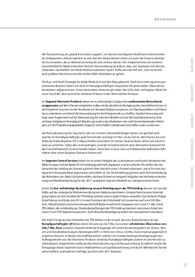 """Brief an die Aktionäredie Positionierung als """"global first choice supplier"""", um bei den wichtigsten Healthcare-Unternehmen..."""