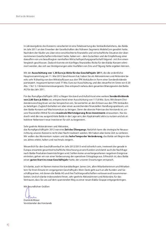 Brief an die Aktionäre              In Jahresergebnis des Konzerns verarbeitet ist eine Teilabwertung des Verkäuferdarlehe...