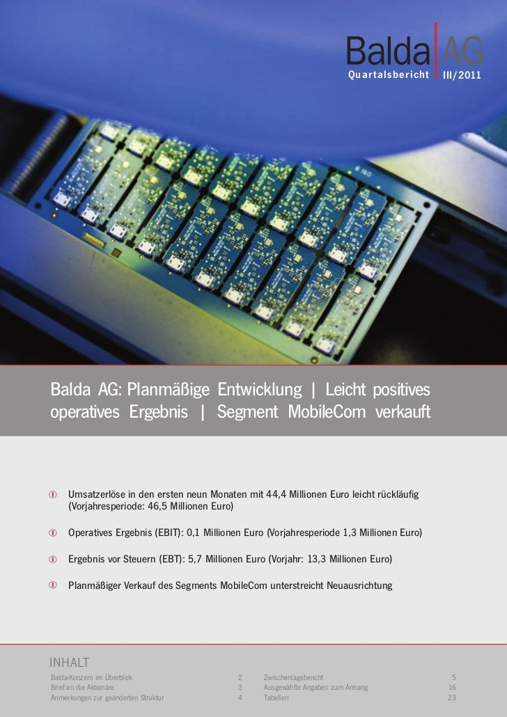 Quar talsbericht   III/2011Balda AG: Planmäßige Entwicklung | Leicht positivesoperatives Ergebnis | Segment MobileCom verk...